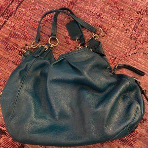 COACH Maggie Leather Handbag in deep teal
